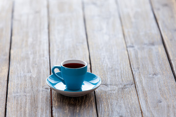 Cup on wooden table