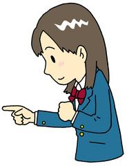 指さし 学生 横顔 女子
