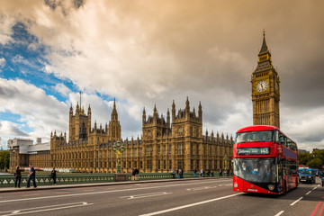 Houses of Parliament and a red bus, London