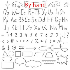 Handwritten letters, number, characters, shapes