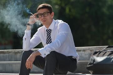 Business man smoking