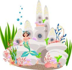 Mermaid and underwater castle