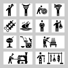 People and food icons set