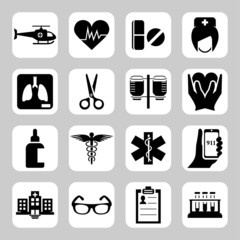 Medical and hospital related vector icon set