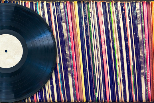 Vinyl record with copy space, vintage process