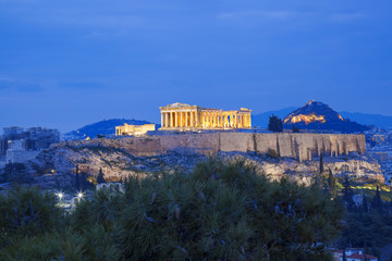 Recess Fitting Athens Acropolis with Parthenon temple in Athens, Greece