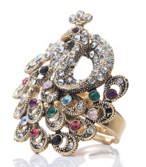 Colorful Gemstone Peacock Ring