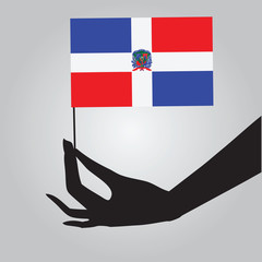 Hand with the Dominican Republic flag