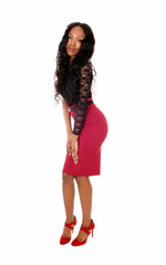 Black girl in red skirt.