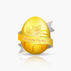 Golden easter egg with floral pattern on a white background