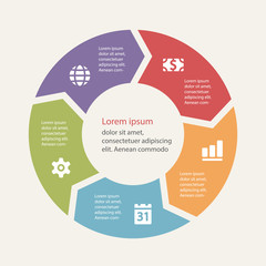 Circular infographics template for cycling diagram, graph, prese