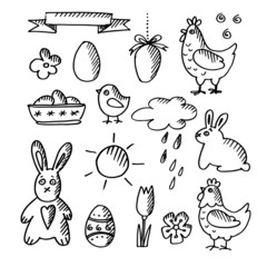 Set of spring easter doodle sketches, icons, isolated vector