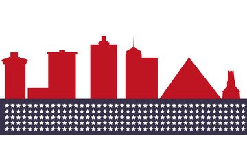 Memphis Tennessee city skyline silhouette. Vector illustration