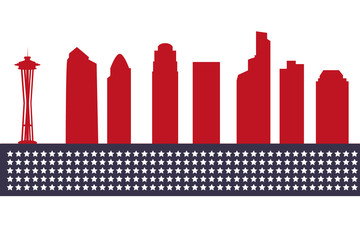 Seattle city skyline silhouette background, vector illustration