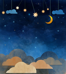 Night sky,cloud, moon and star - paper cut