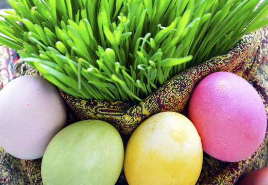 Colored eggs and wheat springs on Nowruz holiday
