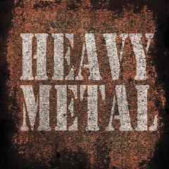 heavy metal music on old rusty metal plate background