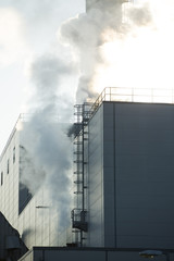 Industrial view of factory and smoke pollution