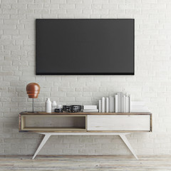 mock up tv on white brick wall, 3d illustration