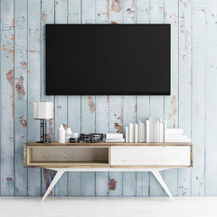 mock up tv on wooden wall, 3d illustration