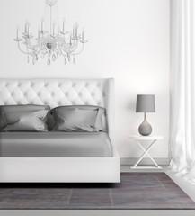 Contemporary elegant luxury white bedroom