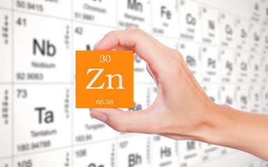 Zinc symbol handheld in front of the periodic table
