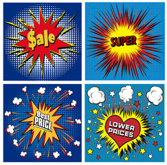 icons in pop art style on the theme of sale price