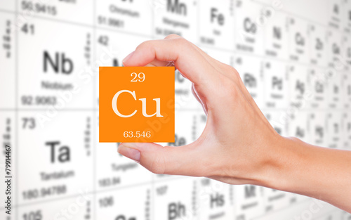 Copper Symbol Handheld In Front Of The Periodic Table Stock Photo