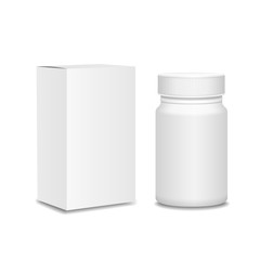 Blank medicine bottle and package isolated on white background