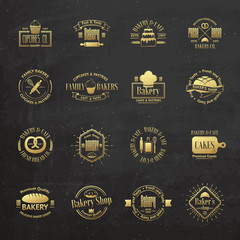 Gold vintage bakery badges, labels and logos