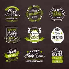 Easter labels and badges on chalkboard background