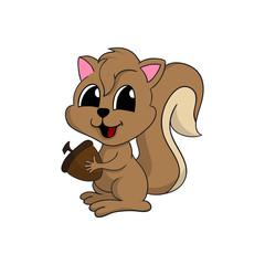 Cartoon illustration of a cute squirrel holding a nut