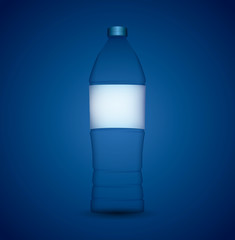 Bottle of water with generic label isolated on blue background