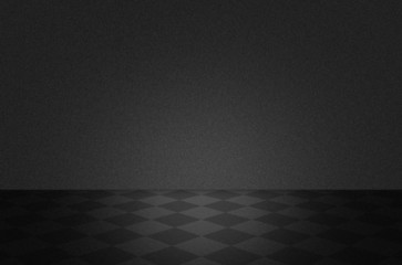 Black texture scene or background with floor
