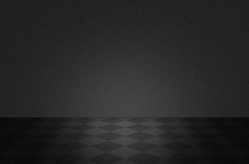 Black texture scene or background with floor
