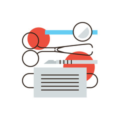 Surgical instruments flat line icon concept