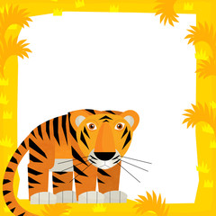 Cartoon frame scene - tiger - illustration