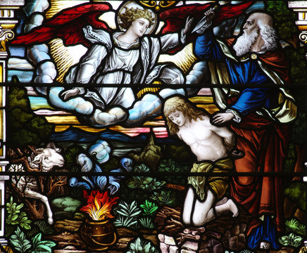 Abraham and Isaac in stained glass
