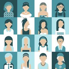 Sixteen of icons. Avatar set of women. Flat design