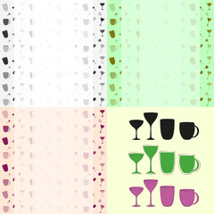 cups and glasses set of icons and background pattern
