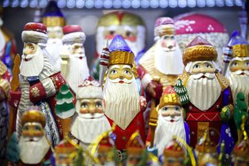 Army of Wooden Santas Puppetsat Christmas Fair.