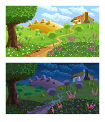 Poster Forest animals Rural landscape. Day and night.