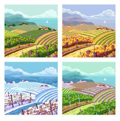 Four seasons. Rural landscapes.
