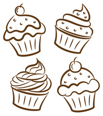 cupcake in doodle style