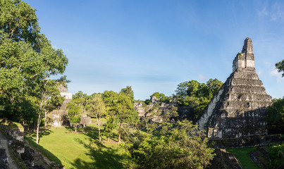 Panorama of Mayan ruins at Tikal, National Park. Traveling guate