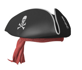 Pirate tricorn hat with skulls and a red bandana