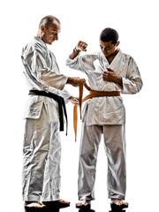 karate men teenager student teacher teaching