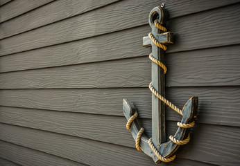 anchor  on wood