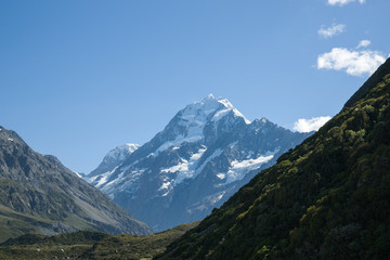 Mountain scenery,with distant Mount Cook, New Zealand.