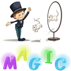Magician showing his tricks